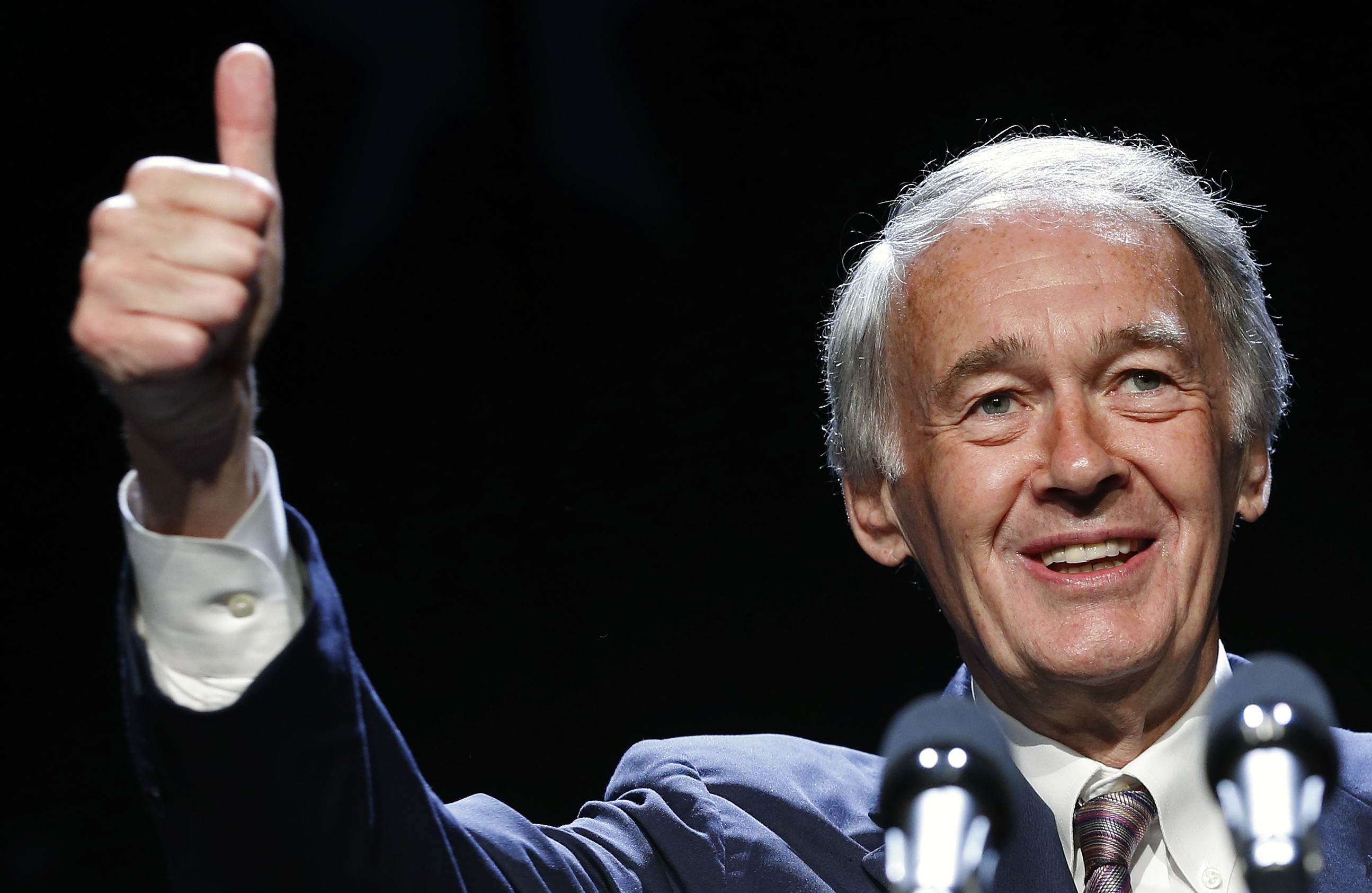 FILE - Senator-elect Ed Markey gives a thumbs-up while speaking at the Massachusetts state Democratic Convention in Lowell, Mass., in this July 13, 2013 file photo. Three weeks after winning Massachusetts' special U.S. Senate election, Edward Markey is set to take the oath of office Tuesday July 16, 2013. Vice President Joe Biden on Tuesday will swear in the longtime U.S. House member as Massachusetts' junior senator. (AP Photo/Michael Dwyer, File)
